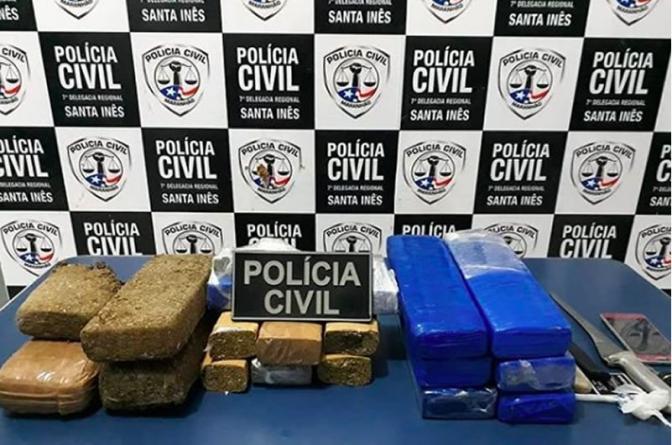 Policiais civis apreendem 13 kg de maconha na região central do Maranhão