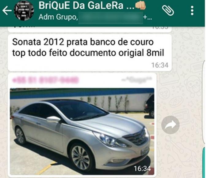 Criminosos faziam 'leilões virtuais' em grupos de WhatsApp para negociar carros roubados
