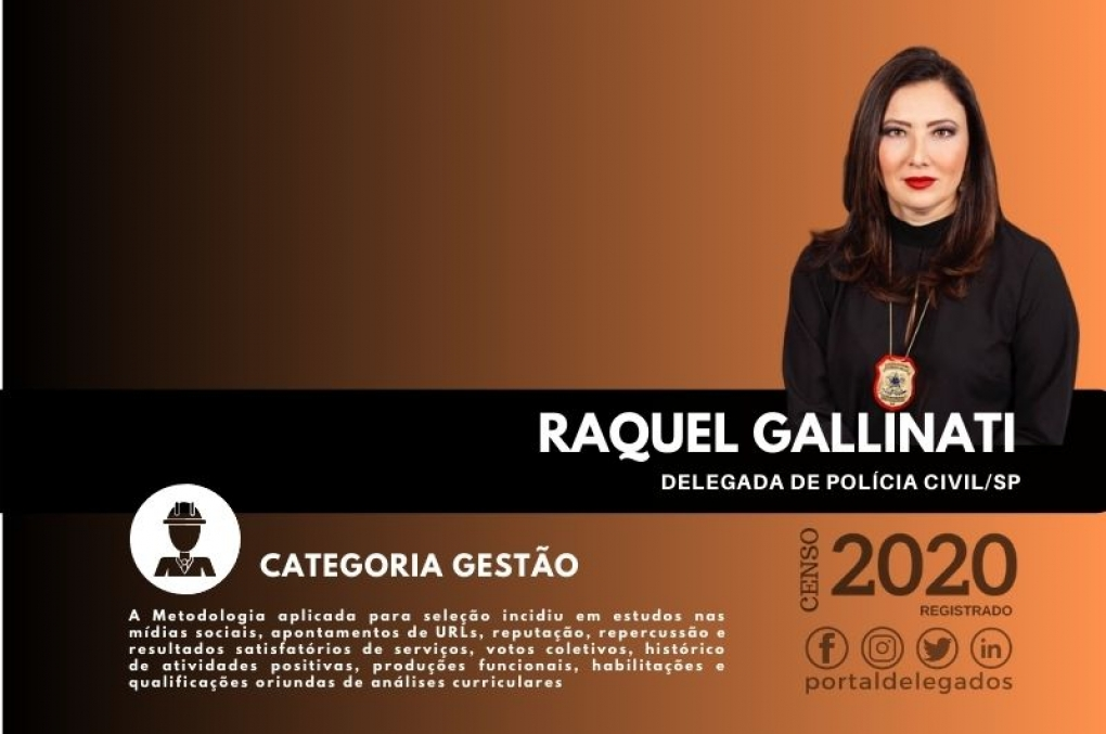 Raquel Gallinati é, pela 2ª vez, uma das Melhores Delegadas de Polícia do Brasil! Censo 2020