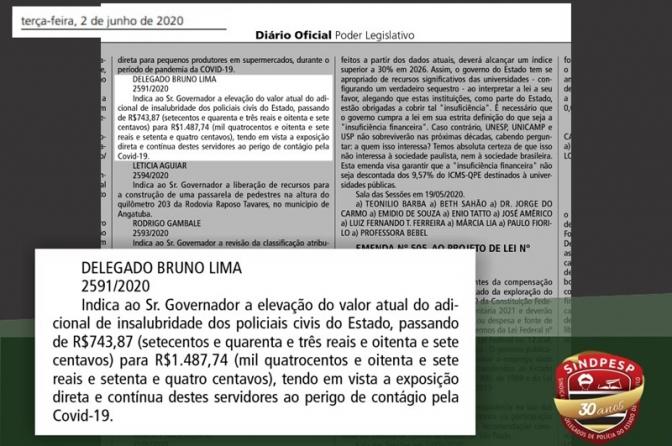 Sindpesp e deputado Bruno Lima apoiam aumento do adicional de insalubridade para os policiais civis
