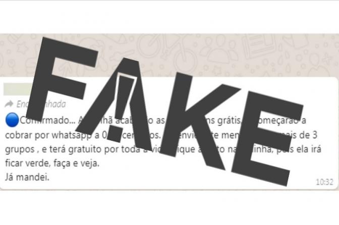 É #FAKE que WhatsApp passará a cobrar R$ 0,37 por envio de mensagens