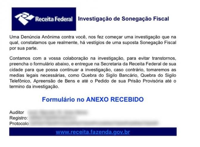 E-mail da Receita alerta sobre investigação de sonegação fiscal