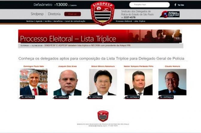 Delegados elegem lista tríplice para chefe da Polícia Civil de São Paulo