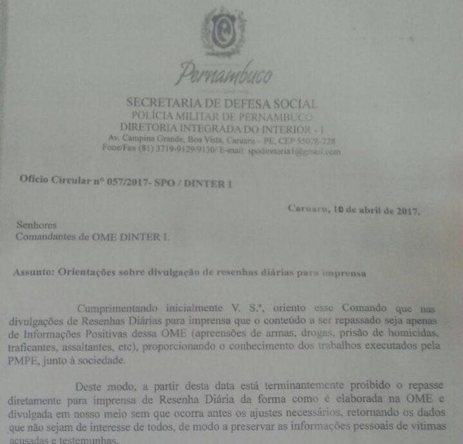 PM de Pernambuco orienta batalhões a informar só notícias positivas para jornalistas