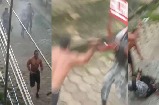 PMsefetuam disparos contra homem que ainda parte pra cima e agride cabeça de policial
